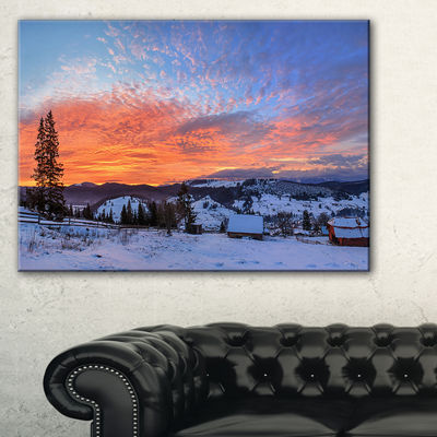 Designart Snowy Colorful Dawn In Mountains Canvas Art