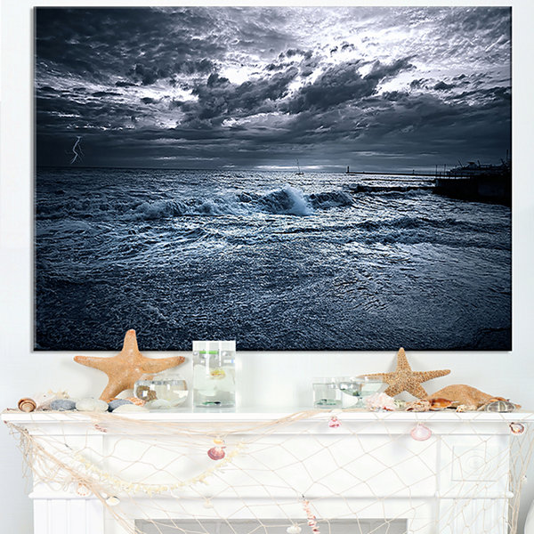 Designart Sochi Sea Storm In Blue Canvas Art