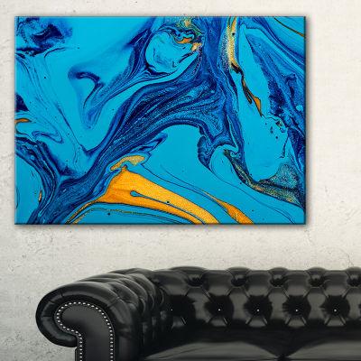 Designart Soft Blue Abstract Acrylic Paint Mix Canvas Art