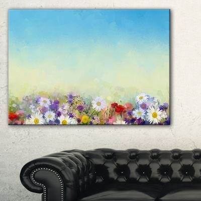 Designart Soft Flowers In Spring Background Canvas Art