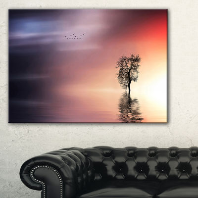 Designart Solitude Tree And Flying Birds Canvas Art