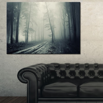 Designart Spooky Dark Forest With Fog Canvas Art