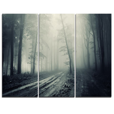 Designart Spooky Dark Forest With Fog 3-pc. Canvas Art