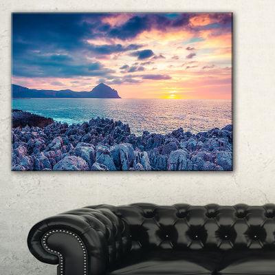 Designart Spring Sunset Over Monte Cofano 3-pc. Canvas Art