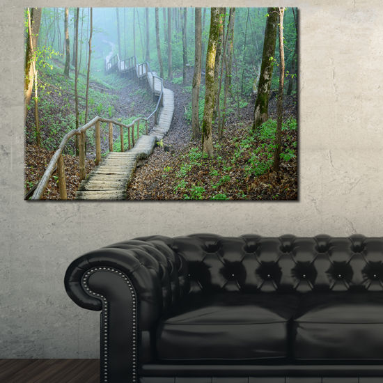 Designart Stairway Leading To Foggy Forest Canvas Art