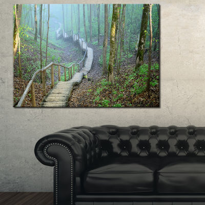 Designart Stairway Leading To Foggy Forest 3-pc. Canvas Art