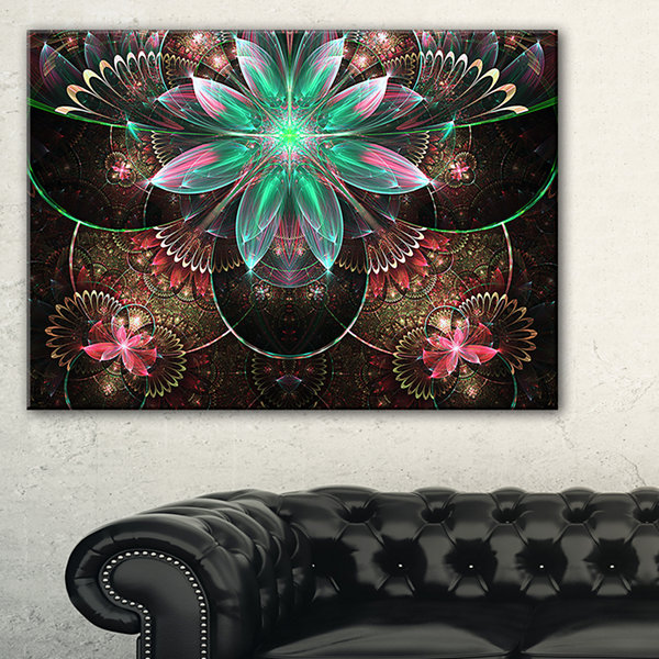 Designart Large Star Flower Fractal Pattern Canvas Art