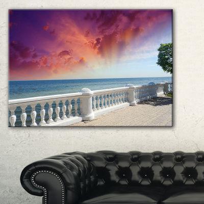 Designart Stone Balcony With Ocean View 3-pc. Canvas Art