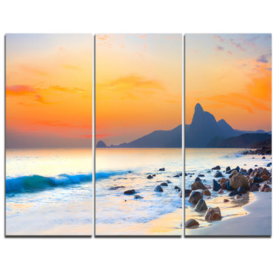 Designart Stone In The Beach At Sunset 3-pc. Canvas Art