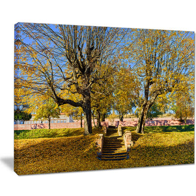 Designart Stone Stairs In Park In Fall Canvas Art
