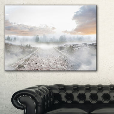 Designart Stony Path To Misty Forest Canvas Art