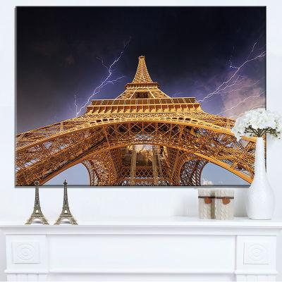 Designart Storm Above Paris Paris Eiffel Towerin Paris Canvas Art