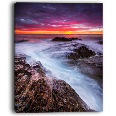 Designart Stormy Seashore With Colorful Sky Canvas Art