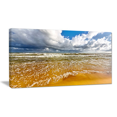 Designart Stormy Summer Sea With White Clouds Canvas Art