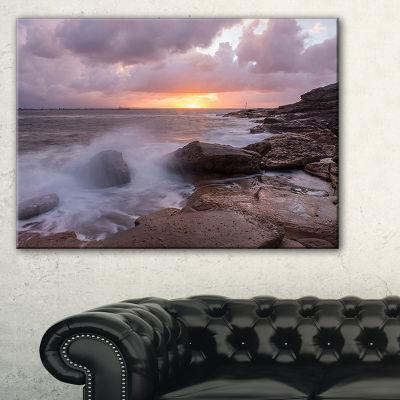 Designart Stormy Waves In Beautiful Australia Beach Canvas Art