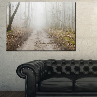 Designart Straight Forest Road In Fall Canvas Art