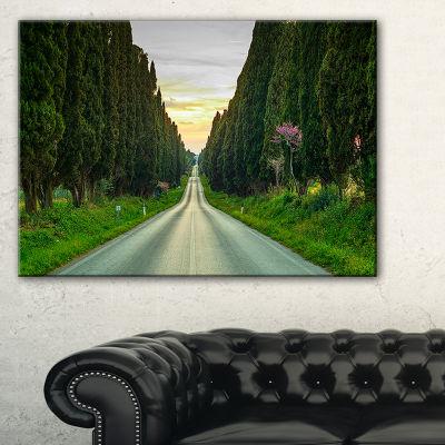 Designart Straight Road Through Cypress Trees Canvas Art