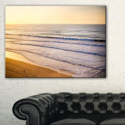 Designart Stunning Orange Sunset Over Beach Canvas Art