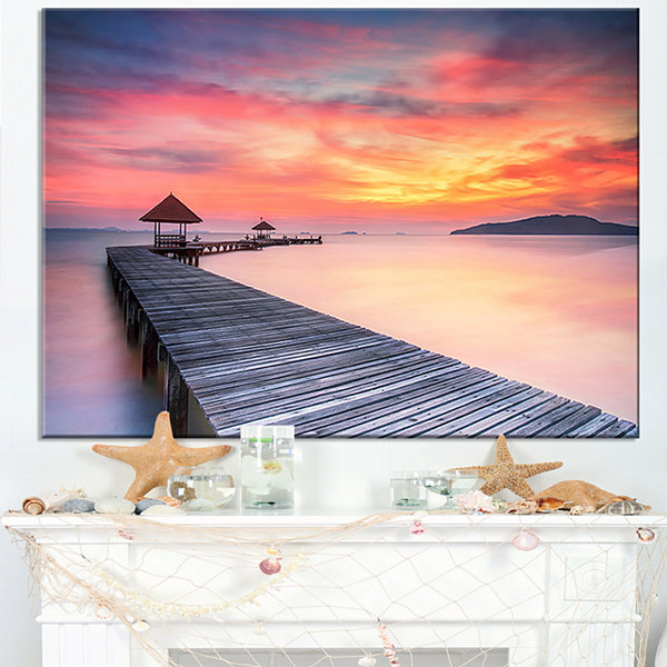 Designart Stylish Wooden Bridge And Beach Sky Canvas Art