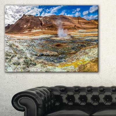 Designart Sulfur And Steam Namafjall Iceland Canvas Art