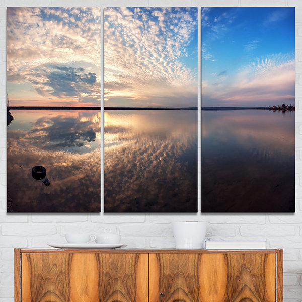 Designart Summer Clouds Reflecting In Lake 3-pc. Canvas Art