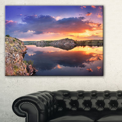 Designart Large Summer Clouds Reflection 3-pc. Canvas Art