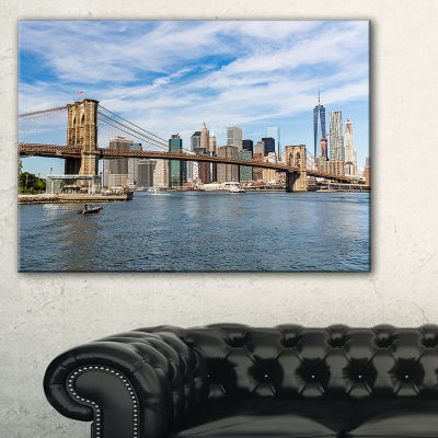 Designart Summer Day Brooklyn Bridge Canvas Art