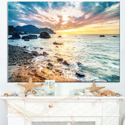 Designart Summer Sea With Mountains And Waves Canvas Art