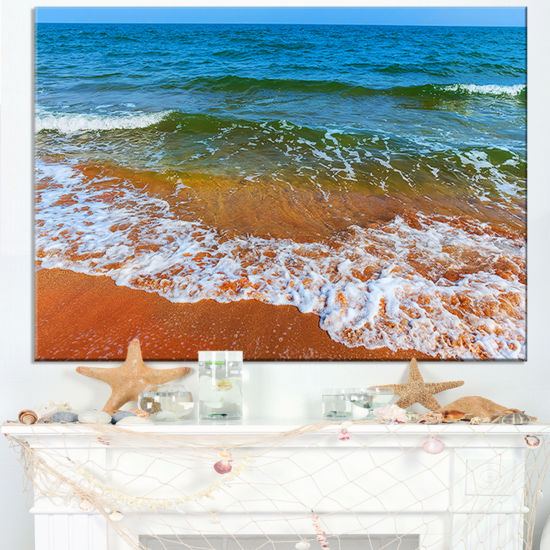 Designart Summer Seashore With White Waves Canvas Art