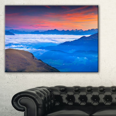 Designart Summer Sunrise In Italian Alps Canvas Art