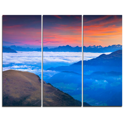 Designart Summer Sunrise In Italian Alps 3-pc. Canvas Art