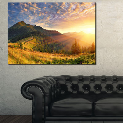 Designart Summer Sunrise Under Thick Clouds 3-pc. Canvas Art