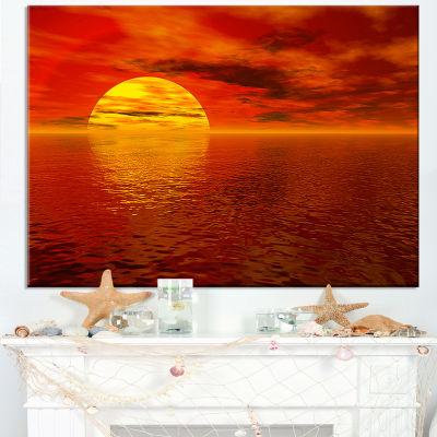 Designart Sun Falling To Yellow Ocean Canvas Art