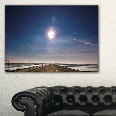 Designart Sun In Blue Sky On Dyke Germany Canvas Art