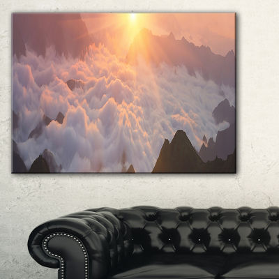 Designart Sunlight Over Heavy Fog Panorama Canvas Art