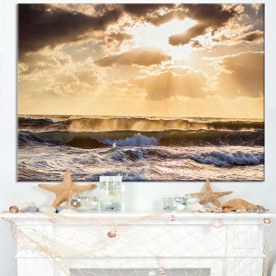 Designart Sunrise And Roaring Blue Sea Waves Canvas Art