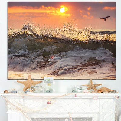 Designart Sunrise And Roaring Ocean Waves Canvas Art