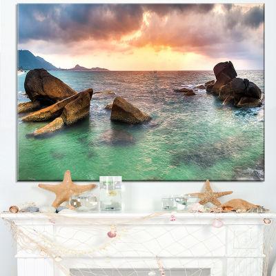 Designart Sunrise At Blue Lamai Beach Canvas Art