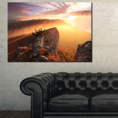 Designart Sunrise In Ai Petri Mountains 3-pc. Canvas Art