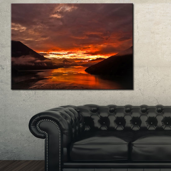 Designart Sunrise In Cloudy Day New Zealand Canvas Art