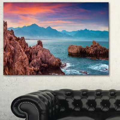 Designart Sunrise On Barbor Milazzo Panorama Canvas Art