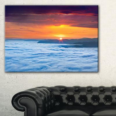 Designart Sunrise Over Foggy Ocean Canvas Art