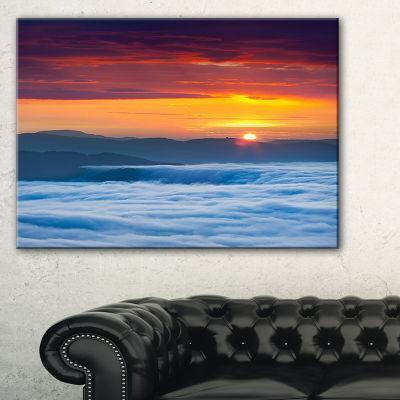 Designart Sunrise Over Foggy Ocean Vertical 3-pc. Canvas Art