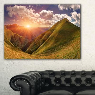 Designart Sunrise Over Green Mountains Canvas Art