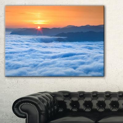 Designart Sunrise Over Misty Sea Waters 3-pc. Canvas Art