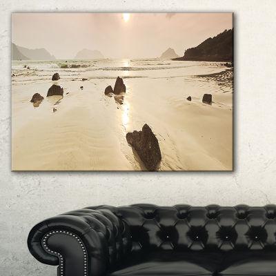 Designart Sunrise Over Rocky Sea Panorama Canvas Art