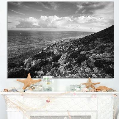 Designart Sunrise Over Sicily Black And White Canvas Art