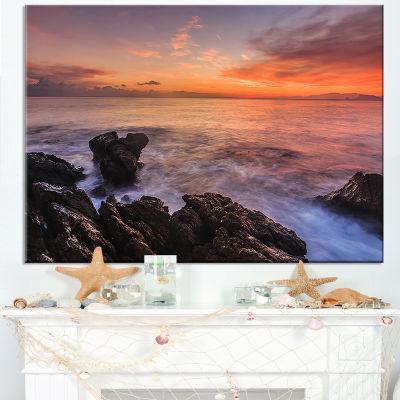 Designart Sunrise Over The Coast Of Sicily Canvas Art