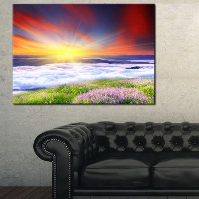 Designart Sunrise With Blooming Flowers Canvas Art