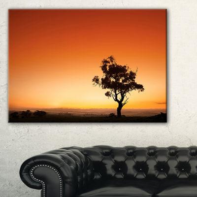 Designart Sunrise With Lonely Tree Canvas Art